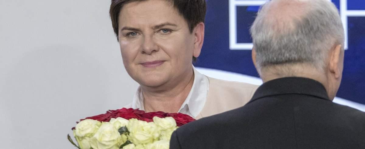 Beata Szydło w towarzystwie Jarosława Kaczyńskiego.