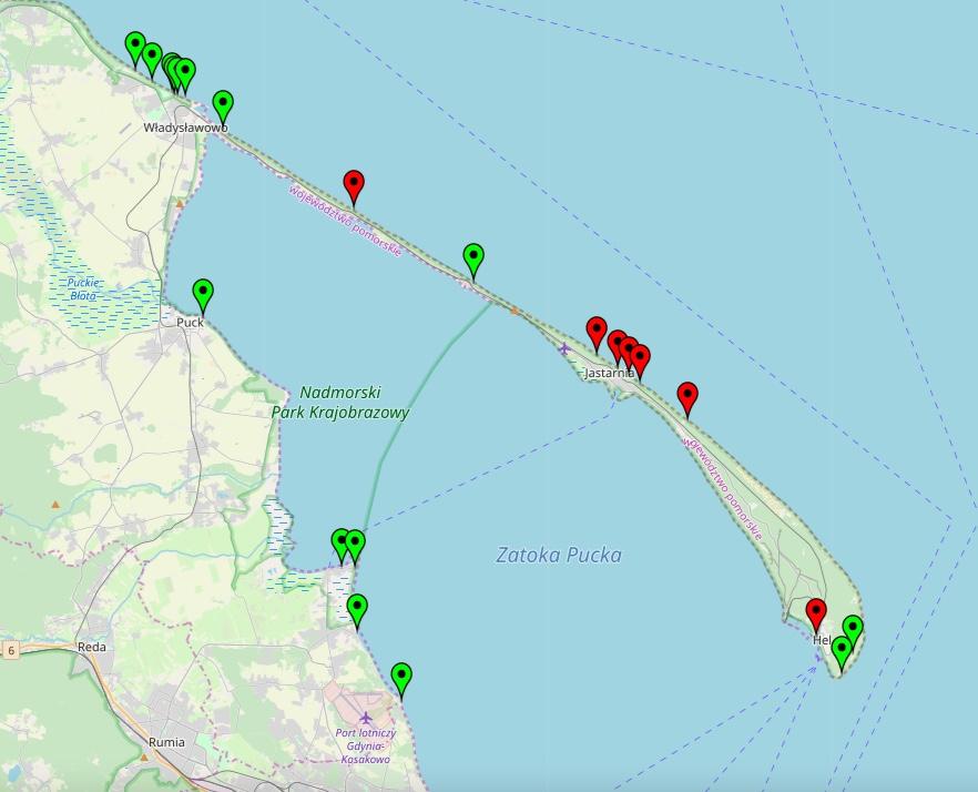 Mapa kąpielisk zamkniętych przez sanepid na Półwyspie Helskim