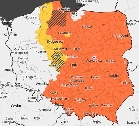 Większość Polski objęta jest alertami w związku z upałami i burzami