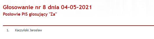 Jarosław Kaczyński zagłosował za poprawką