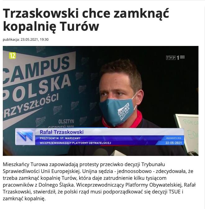 """Krytyczny materiał na temat Rafała Trzaskowskiego w """"Wiadomościach"""" TVP"""