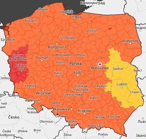 Cała Polska objęta jest ostrzeżeniami wydanymi przez IMGW
