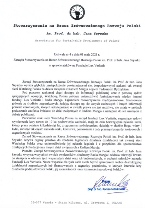 Watchdog Polska atakowane ze względu na proces wytoczony Tadeuszowi Rydzykowi