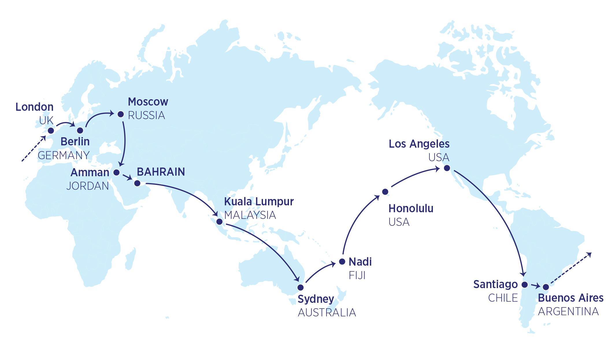 Karte der 34000-Meilen-Flüge