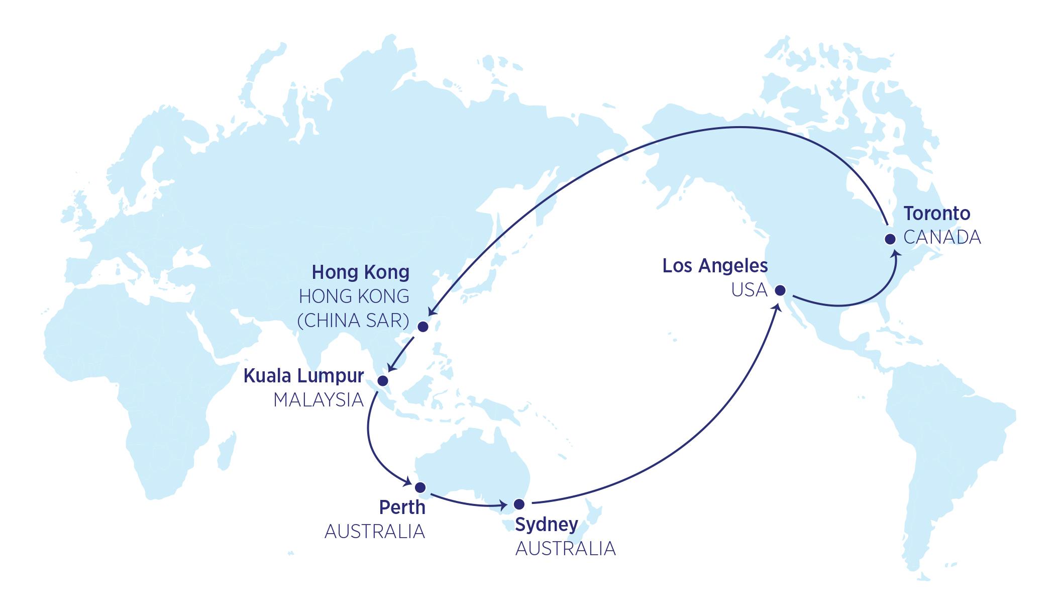 Karte der 26000-Meilen-Flüge