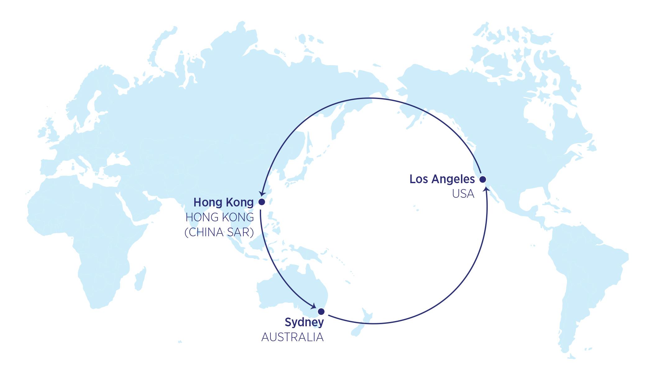 Karte der 22000-Meilen-Flüge