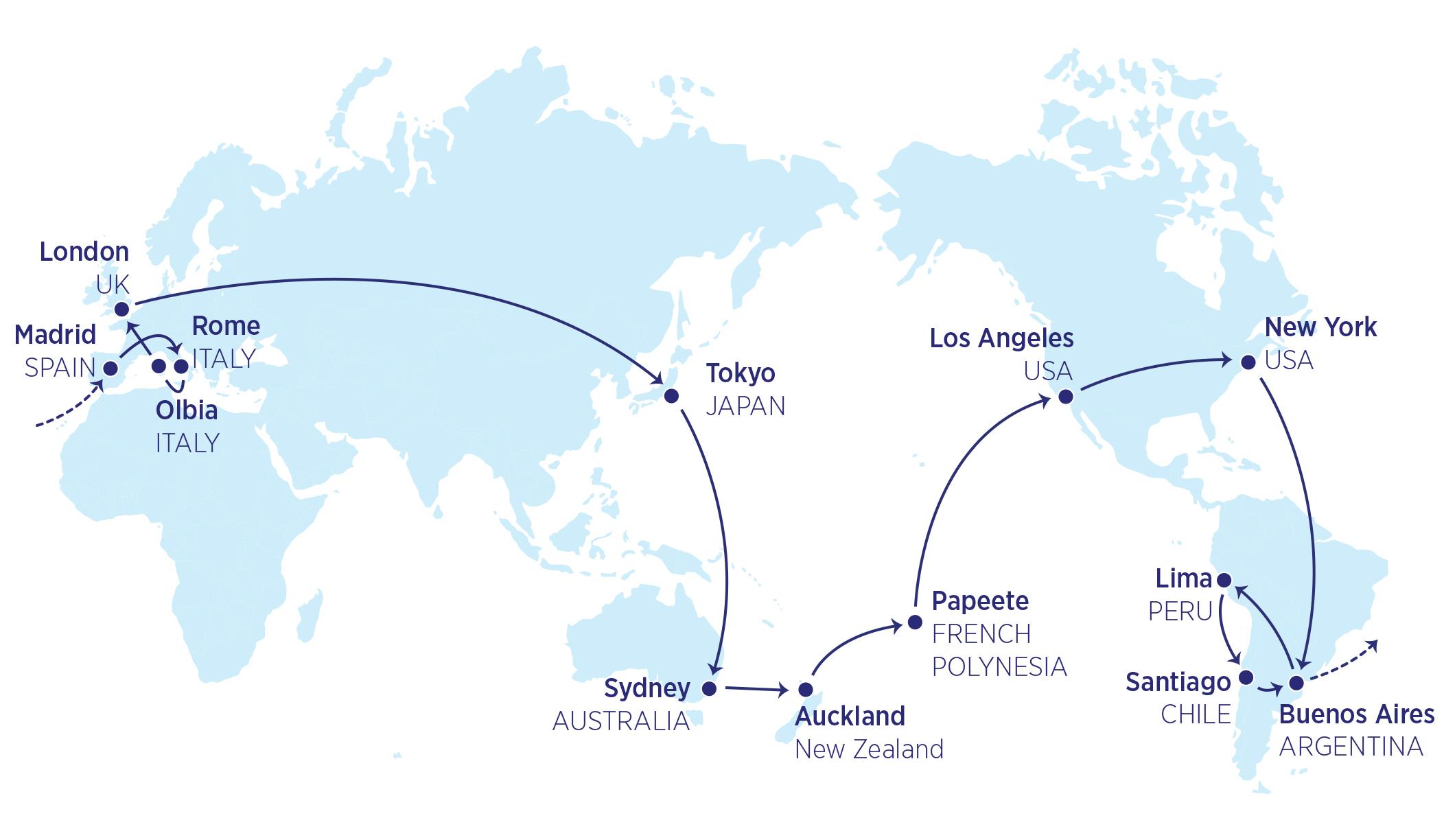 Karte der 39000-Meilen-Flüge