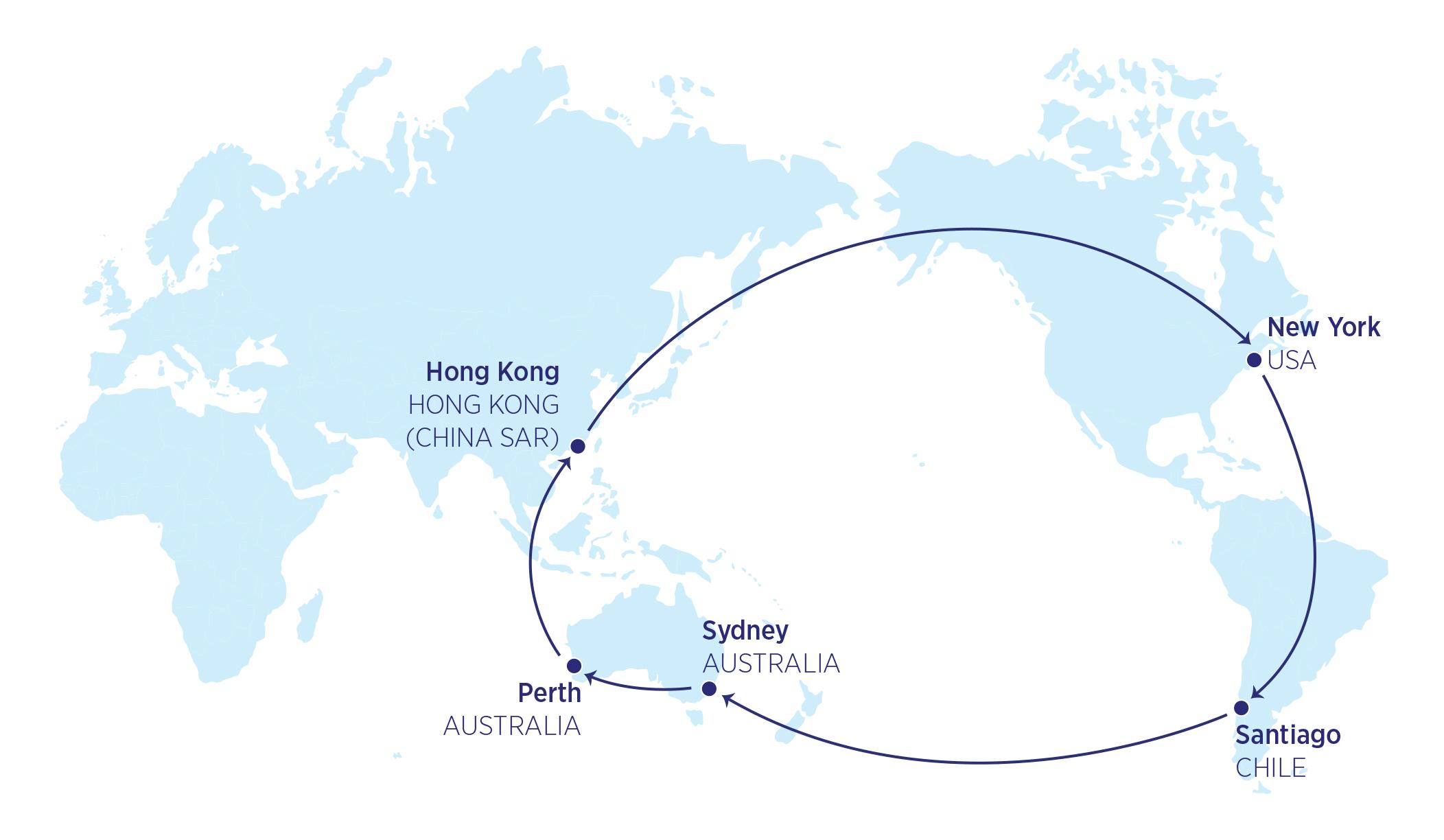 Karte der 29000-Meilen-Flüge