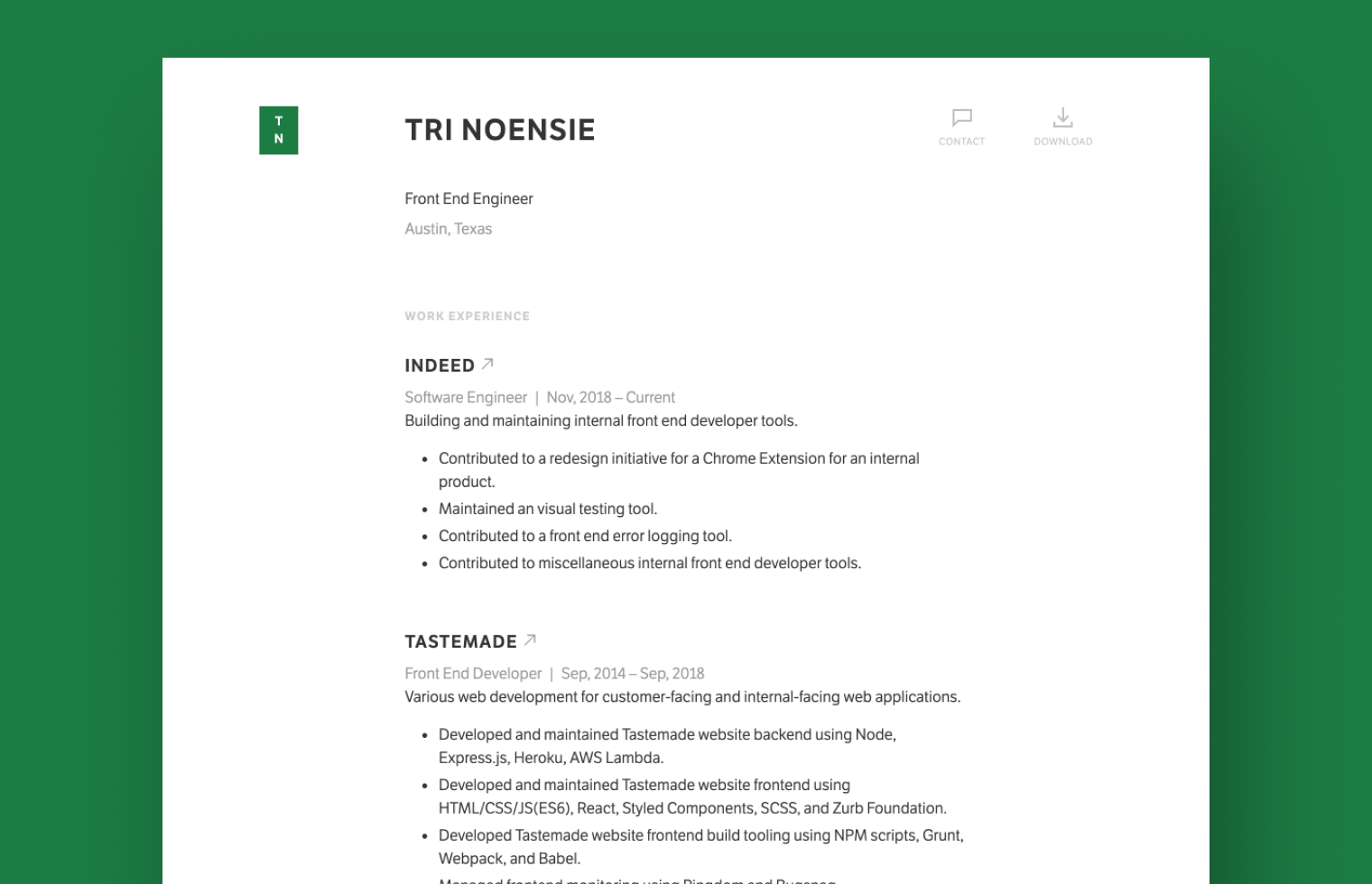 Front End Developer Resume example built with Standard Resume