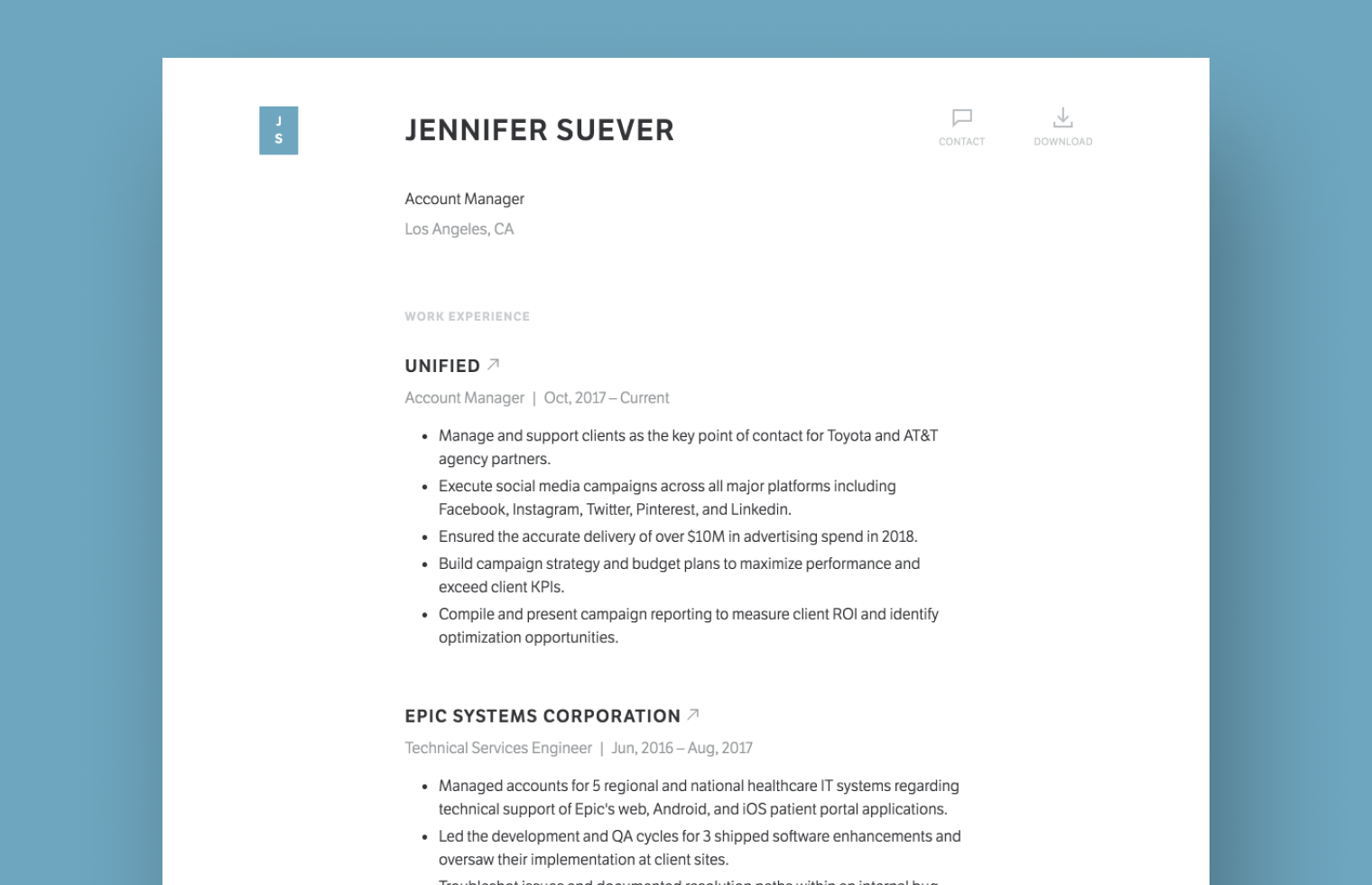 Account Manager resume example built with Standard Resume