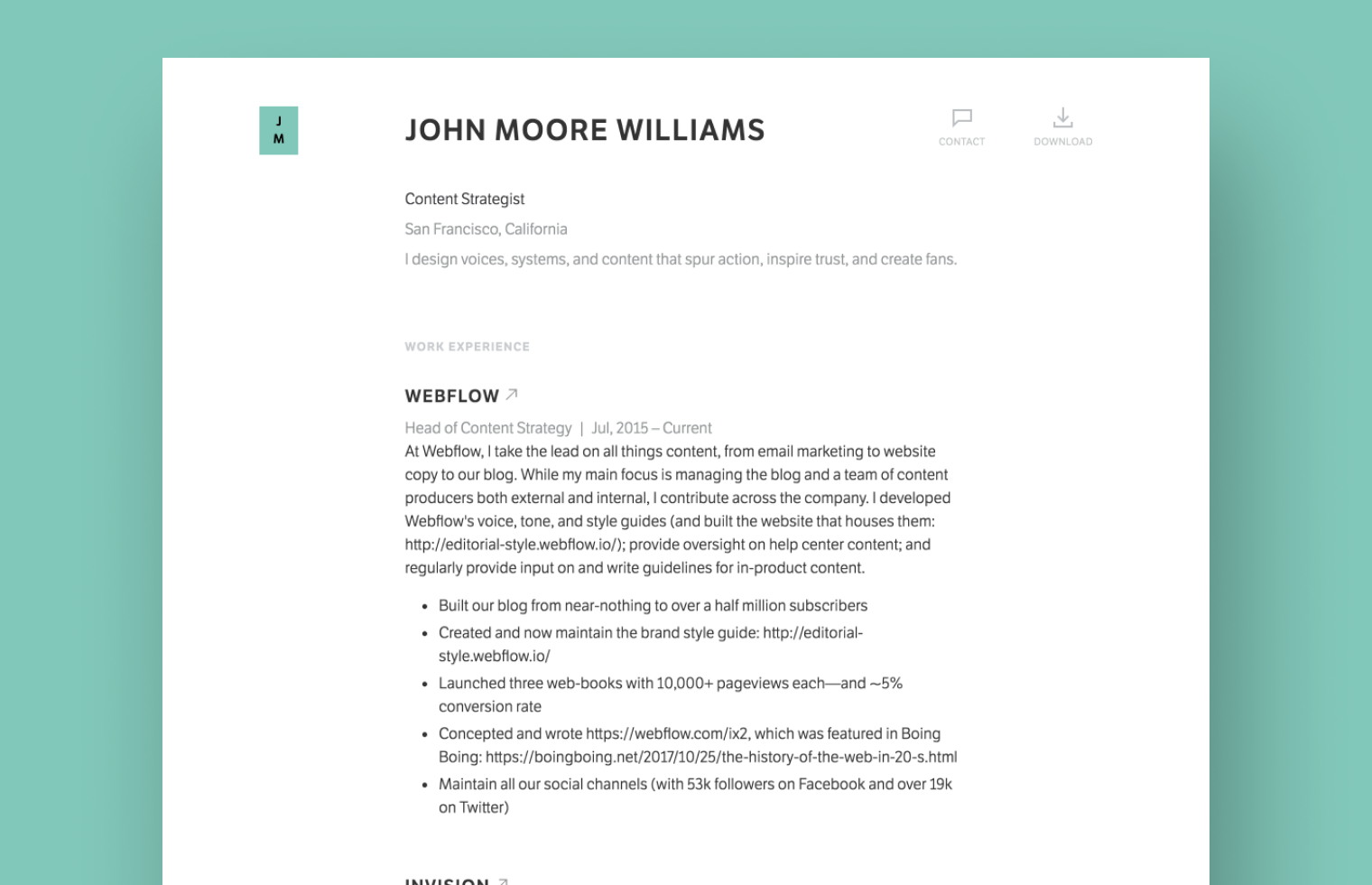 Content Strategist Resume example built with Standard Resume
