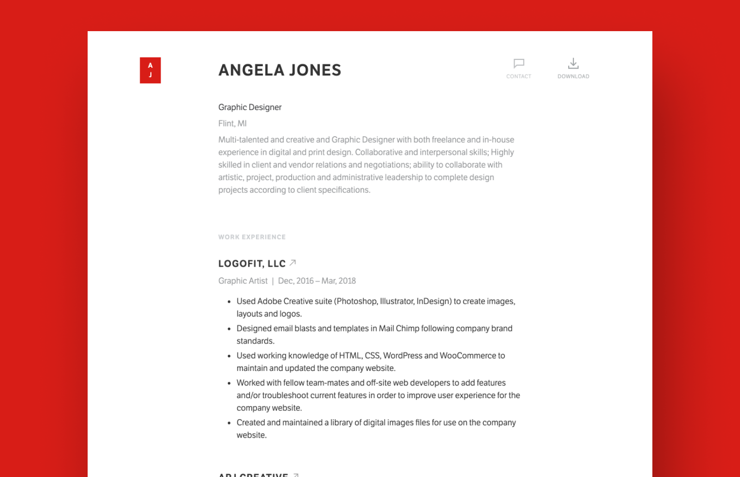 Graphic Designer resume example built with Standard Resume