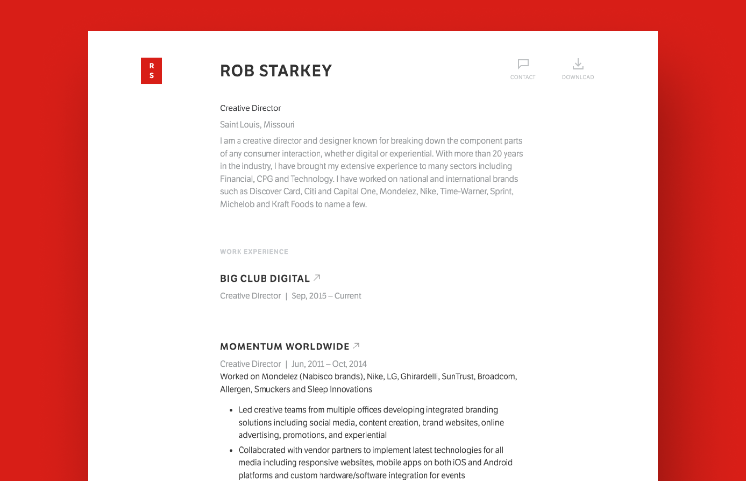 Creative Director resume example built with Standard Resume