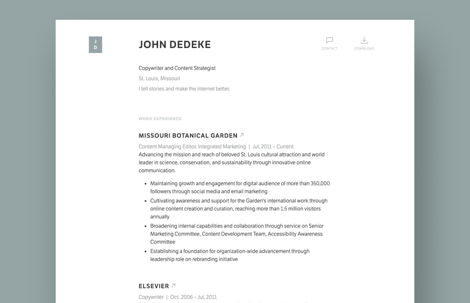 Copywriter resume example built with Standard Resume