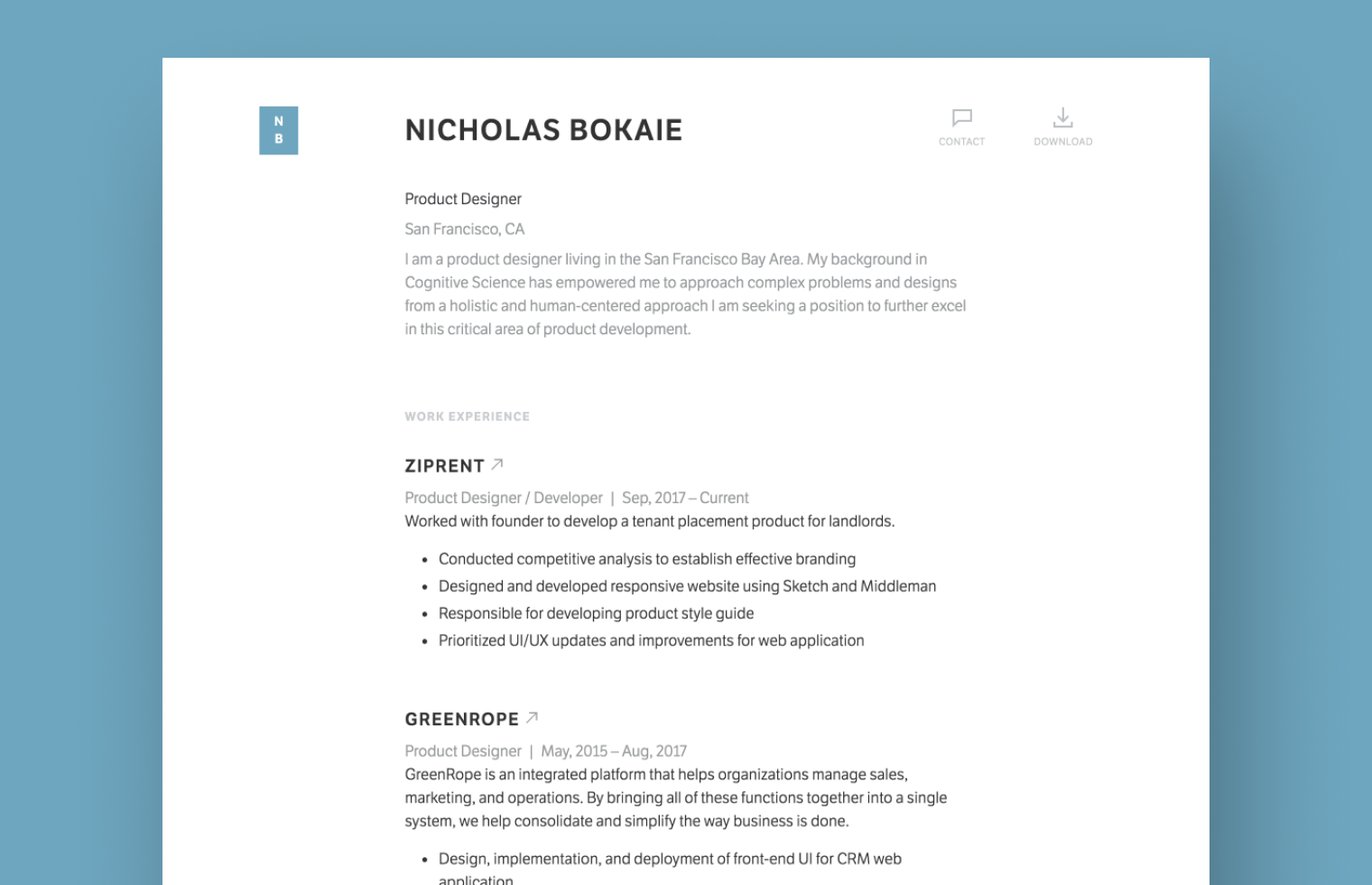 Product Designer Resume example built with Standard Resume