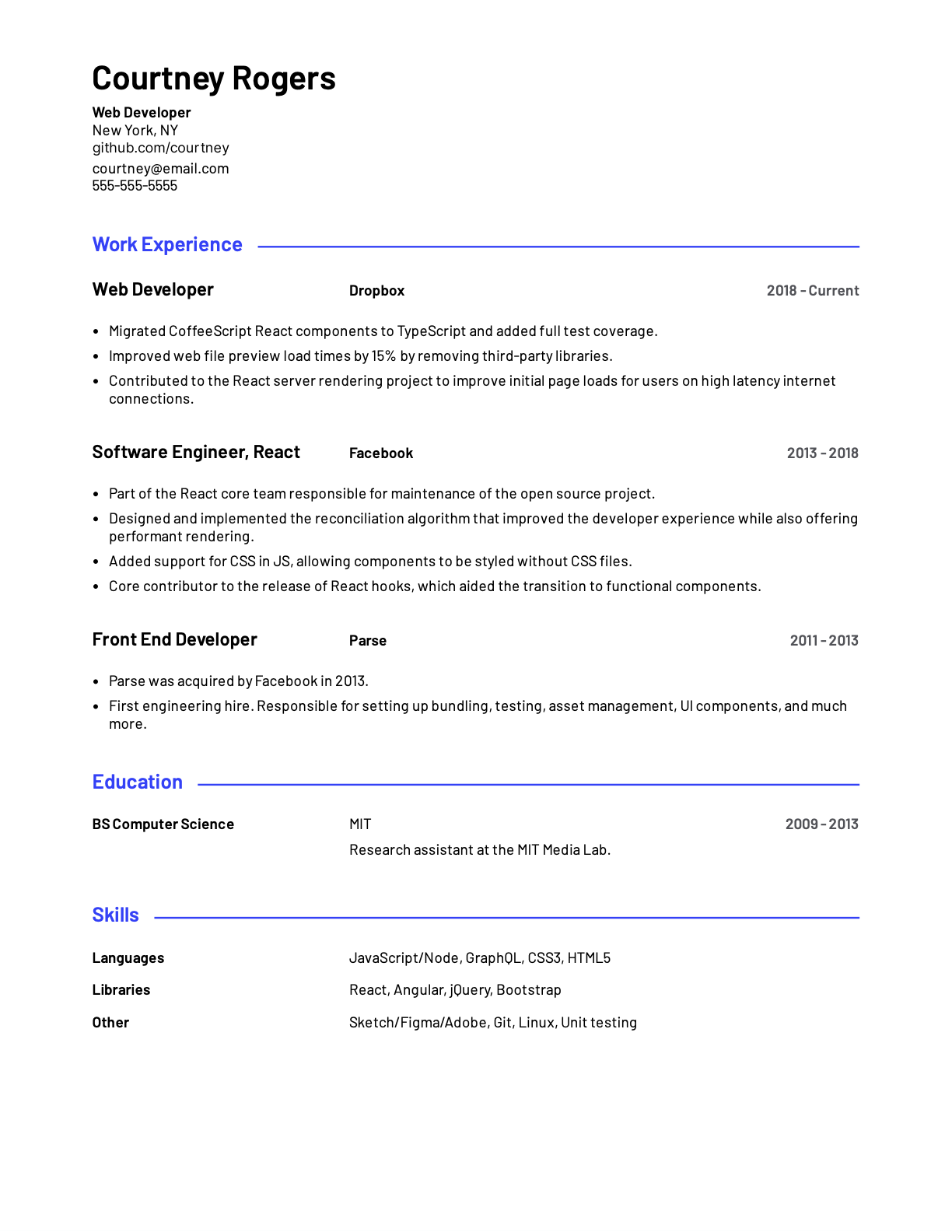 Web Developer sample resume template.