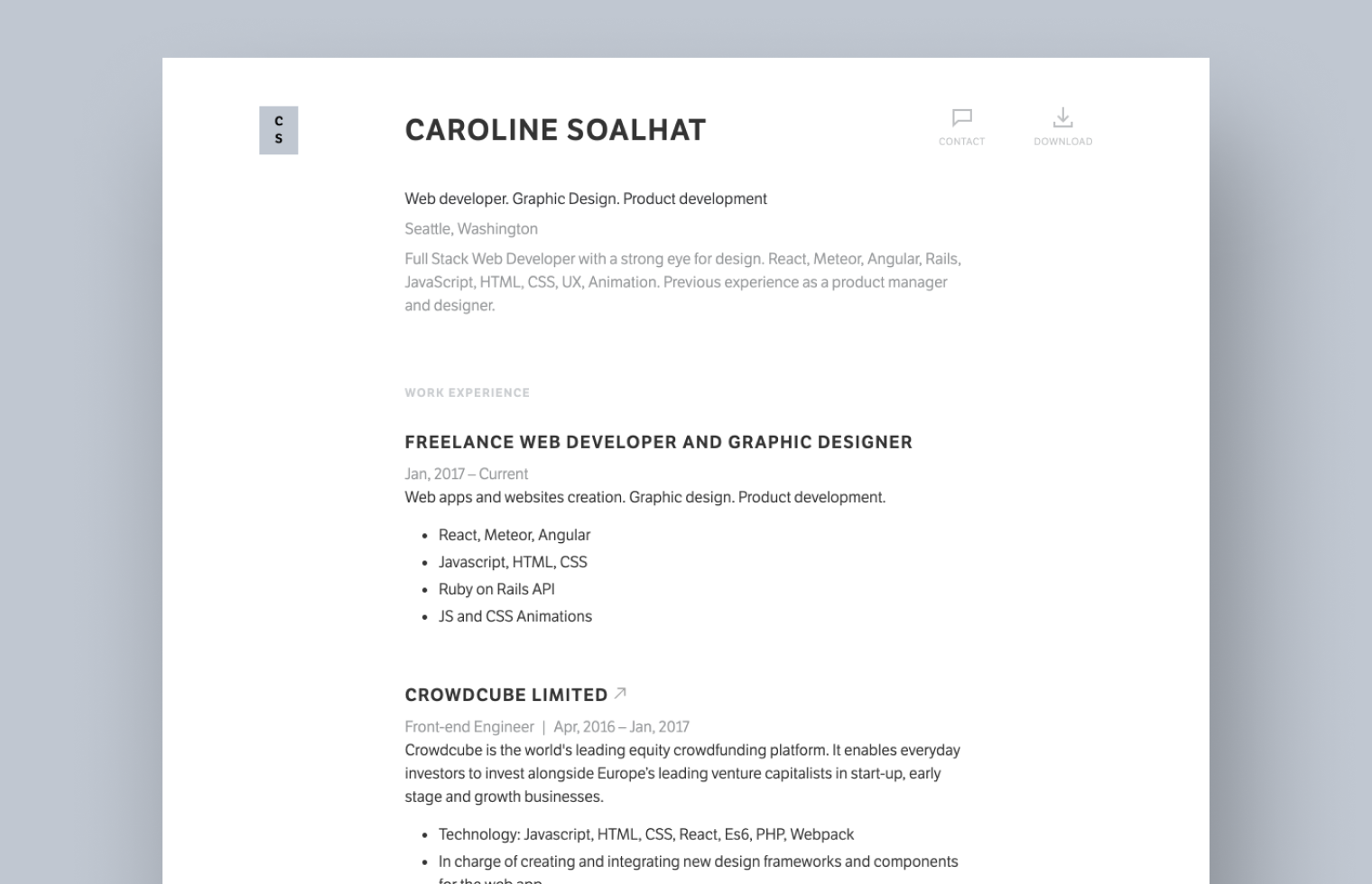 Web Developer Resume example built with Standard Resume