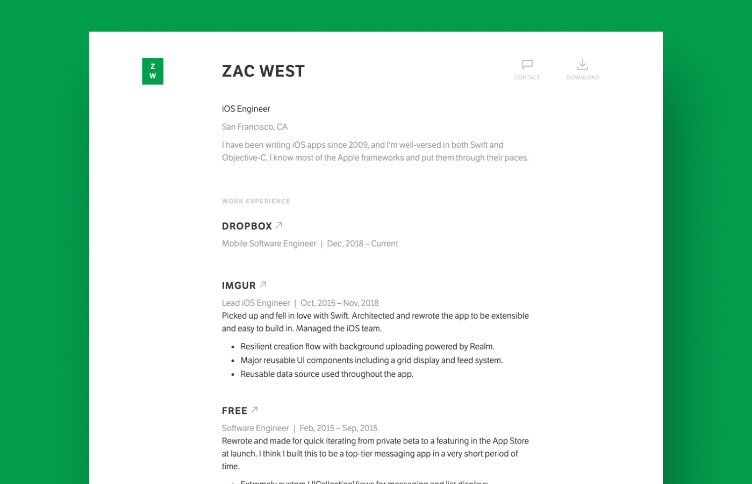 iOS Developer resume example built with Standard Resume