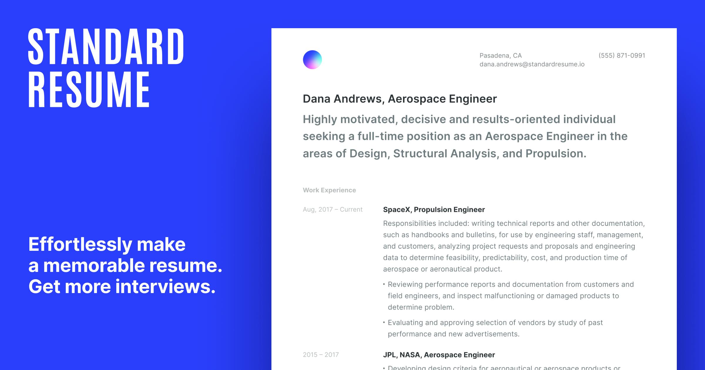 Standard Resume Effortlessly Build A Memorable Resume