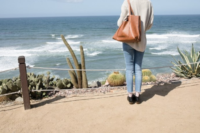 Person staring at beach holding purse