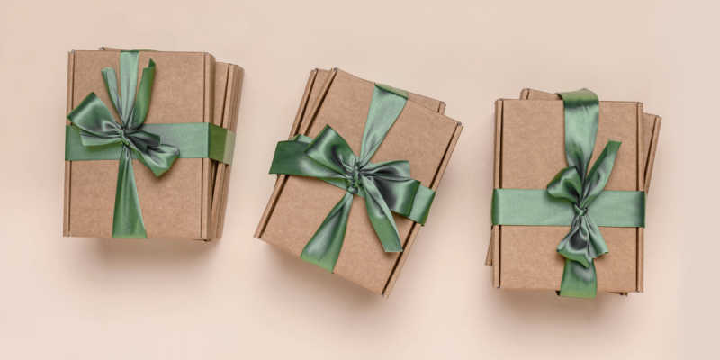 Packages with green bows