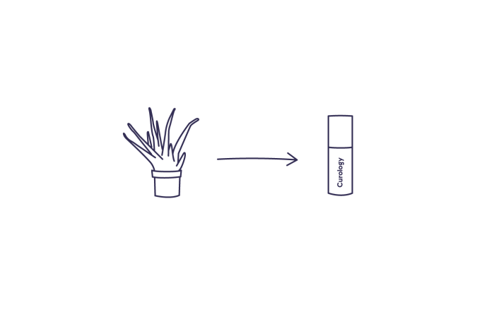 Illustration of an aloe plant with an arrow pointing to a bottle of Curology cream