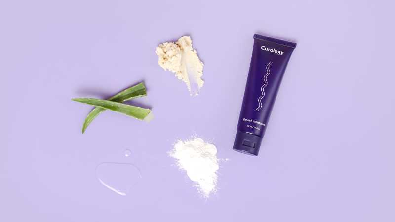 Aloe, shea butter, the rich moisturizer, allantoin, glycerin. Purple background
