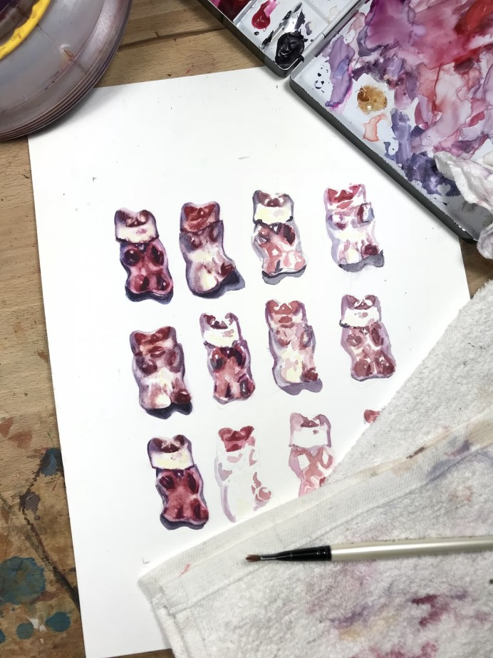 Painting of gummy bears