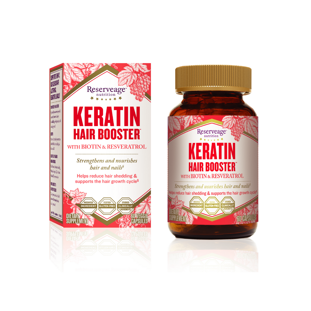 Keratin hair booster bottle and box