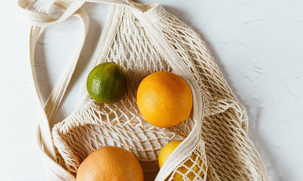 Macrame bag full of citrus