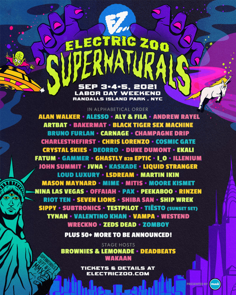 Electric Zoo 2021 Phase 1 Lineup