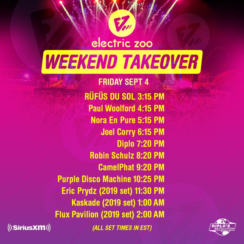 Electric Zoo Weekend Takeover 2020 Friday Timetable