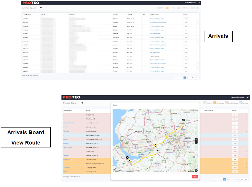 Real-time ETA update, arrival board, delivery updates, Proteo TMS