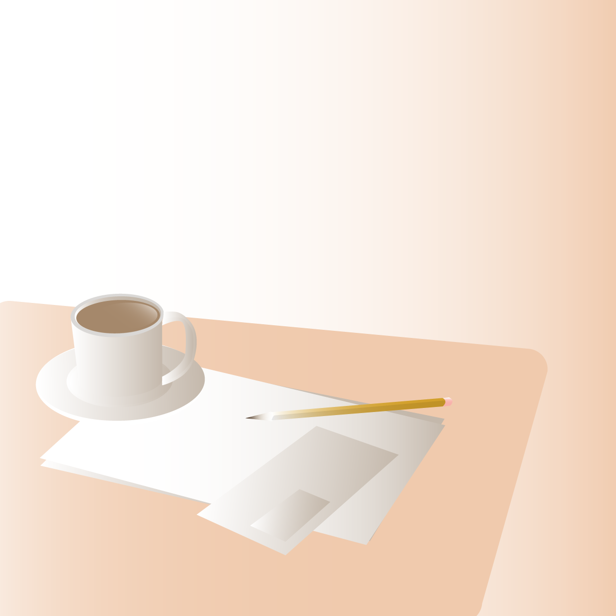 An illustration of a coffee mug and some paperwork sitting on a table.