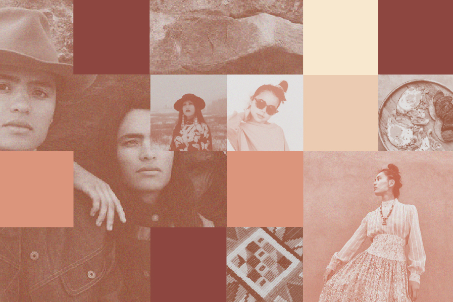 A collage of squares featuring images from businesses owned by Native American women