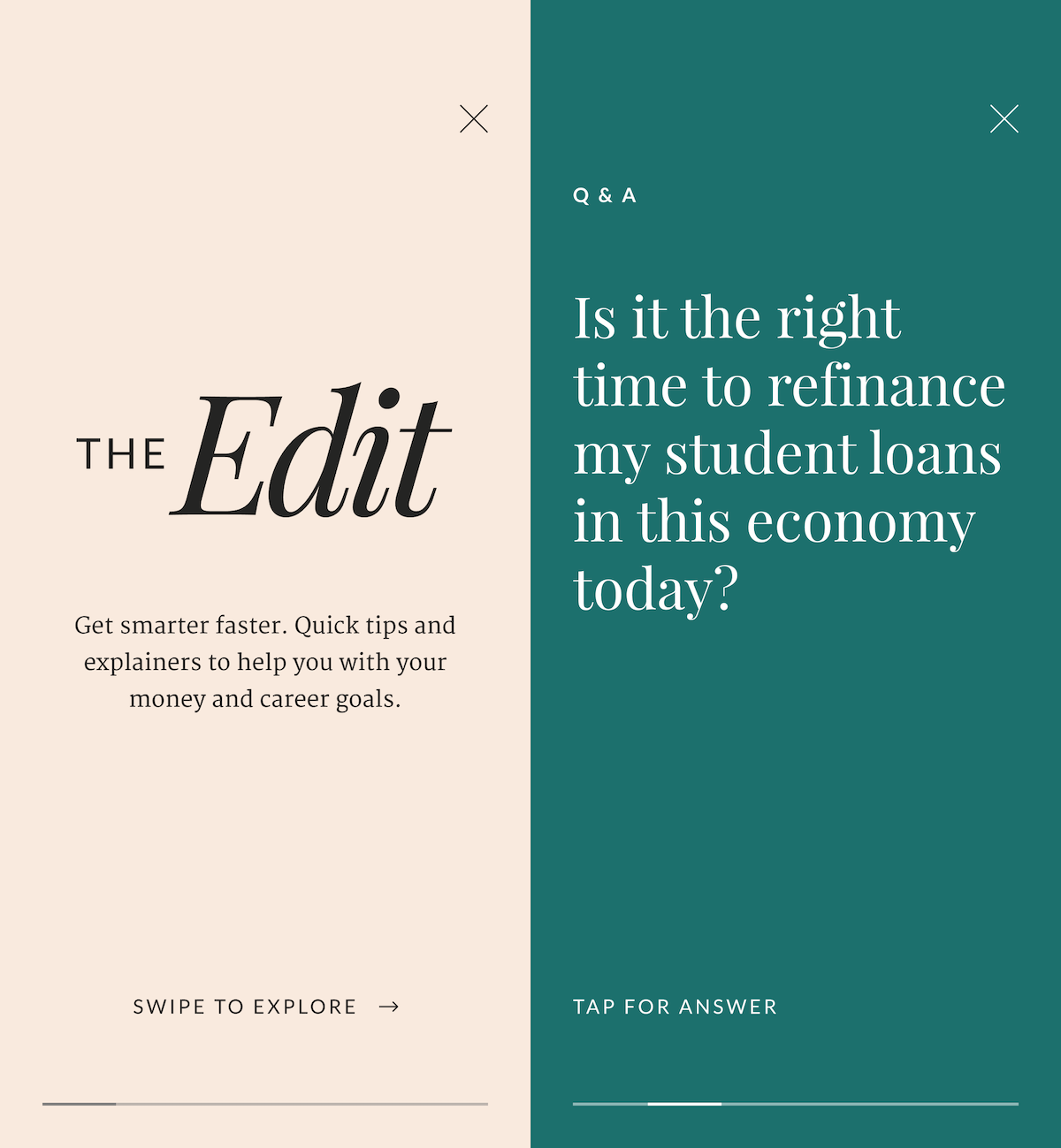 Two side-by-side screenshots of The Edit in the Ellevest App.
