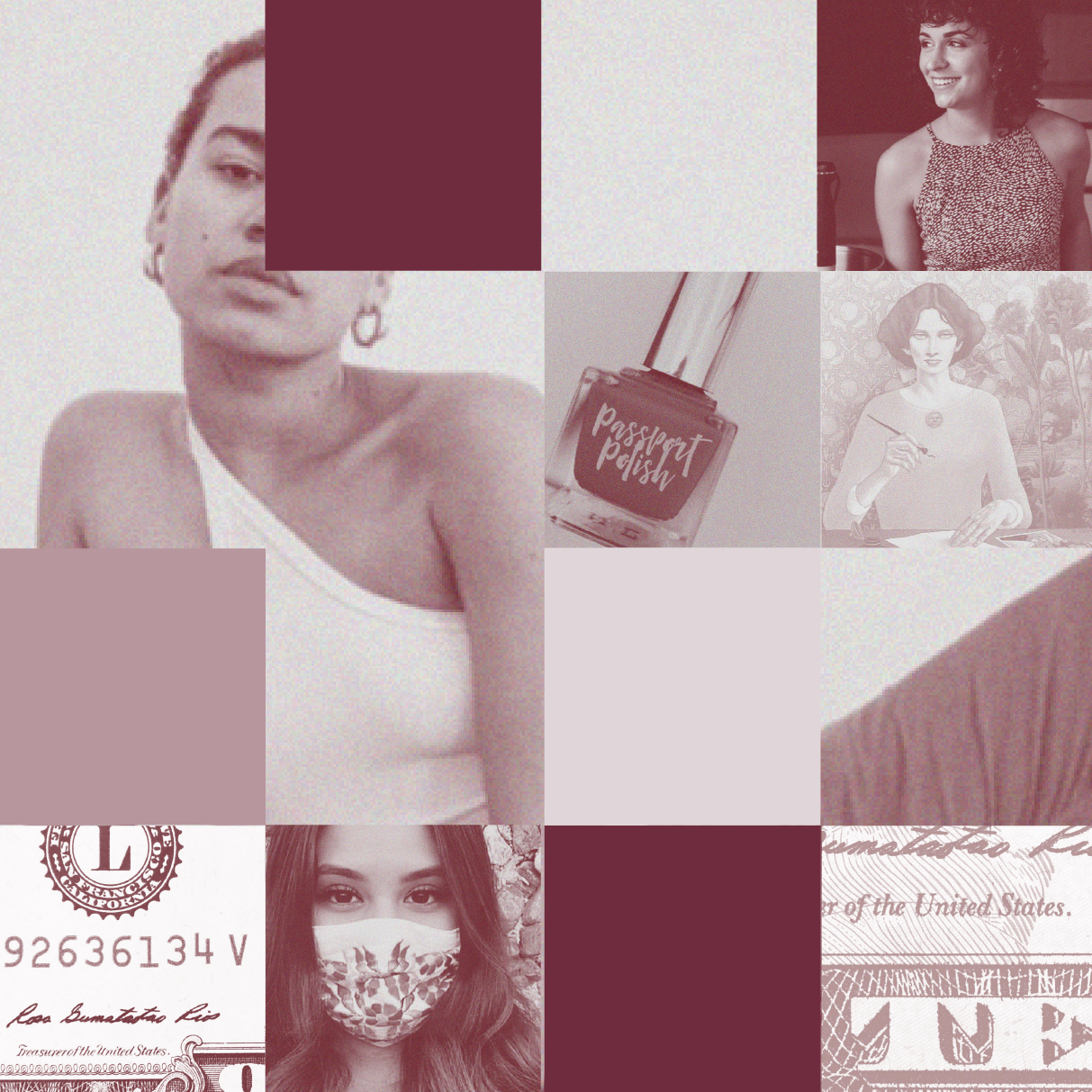 A collage of squares featuring images from women-owned businesses