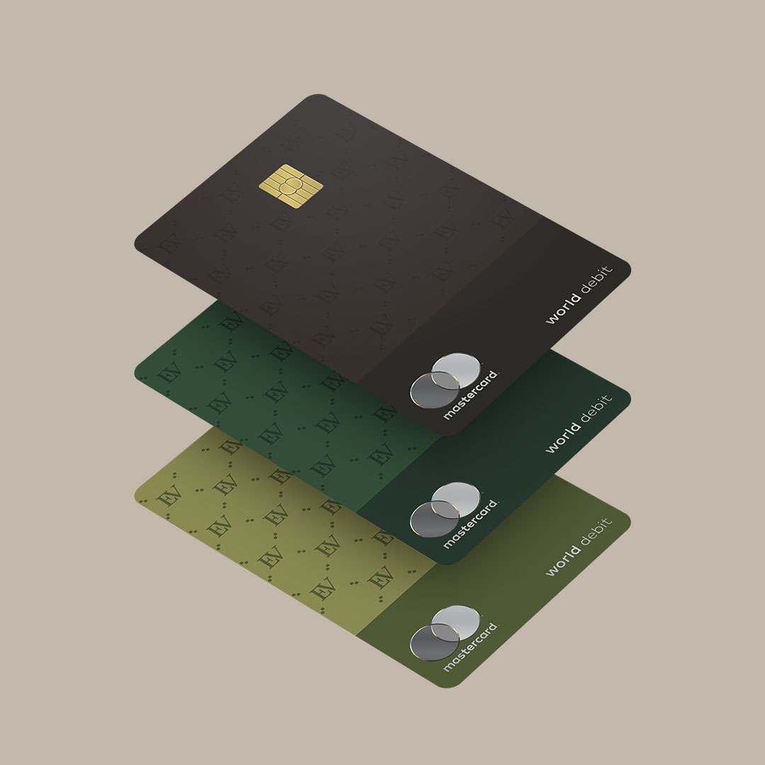An image of Ellevest's three new debit cards.