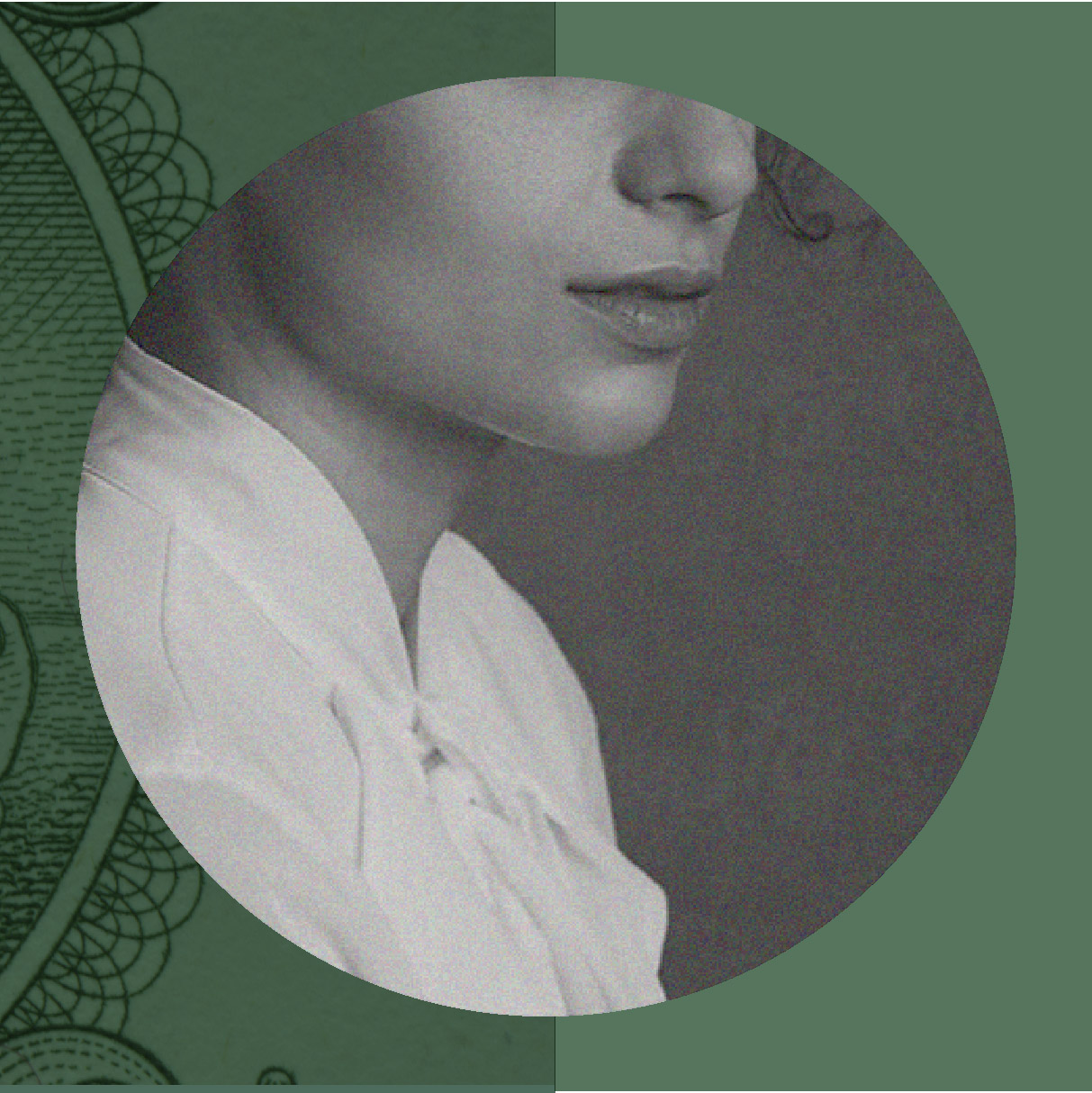 A collage with a woman's face in a circle on a green background with an image of money.