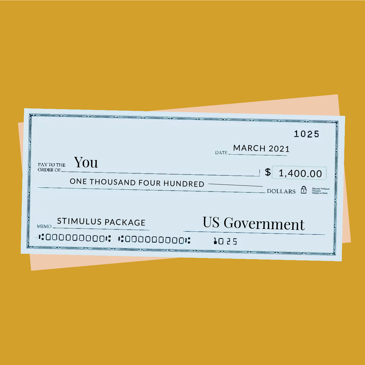 An illustration of a check for $1,400, made out to you.