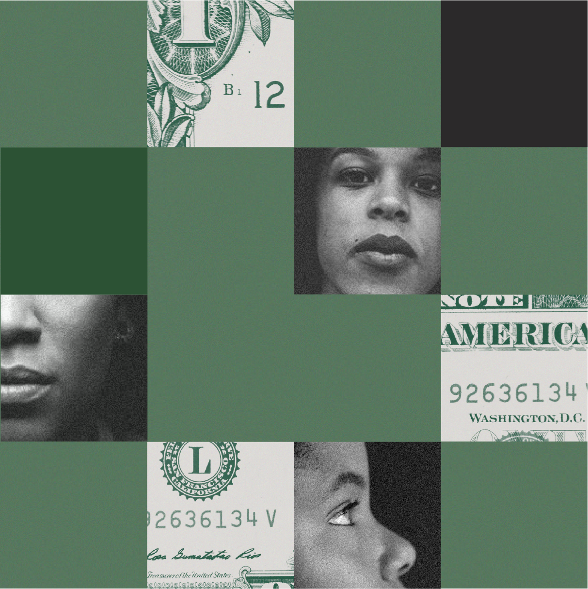 A collage squares featuring Black portraits and money.