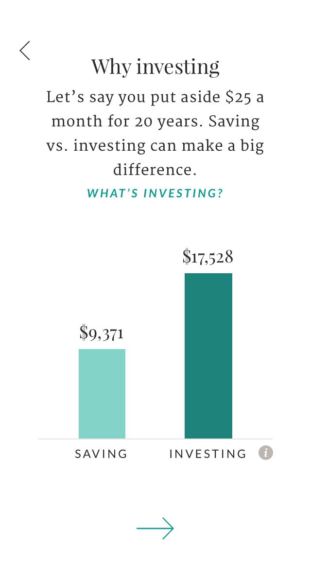 A screenshot from the signup process for the Ellevest App that compares the potential outcome of saving vs investing.