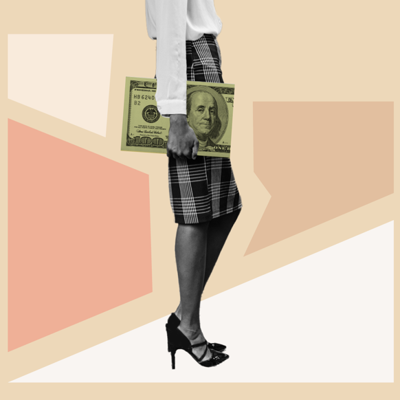 A Black woman, dressed for work, holding a portfolio in the form of a $100 bill.