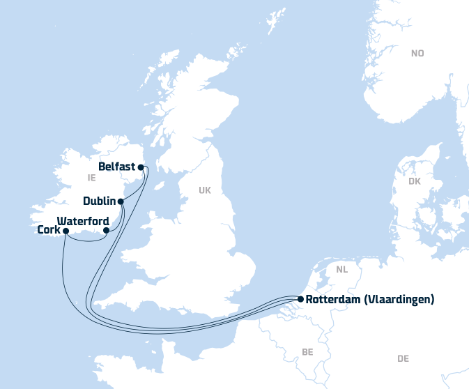 Map Of Europe Ireland.Continental Europe Ireland Freight Shipping Dfds