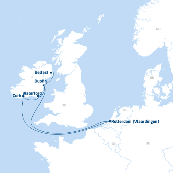 Map of DFDS Shipping Container routes from Continental Europe to Ireland