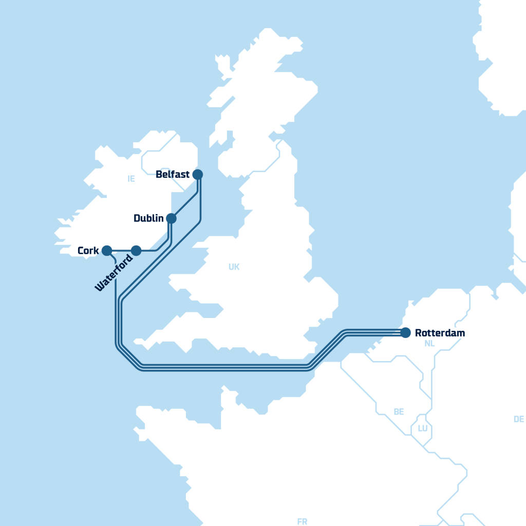 Continental Europe-Ireland Intermodal ports, Light 2020-10-13