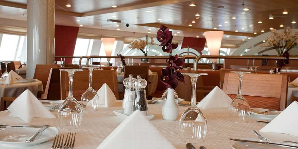 A table set a la carte for customer in restaurant onboard Victoria Seaways in the Baltics.