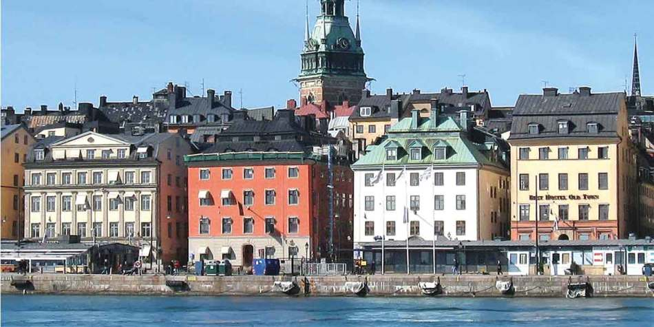 Colourful buildings by the water in Stockholm