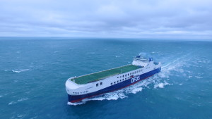 Drone shot of the first freight ferry from the Jinling Shipyard in China
