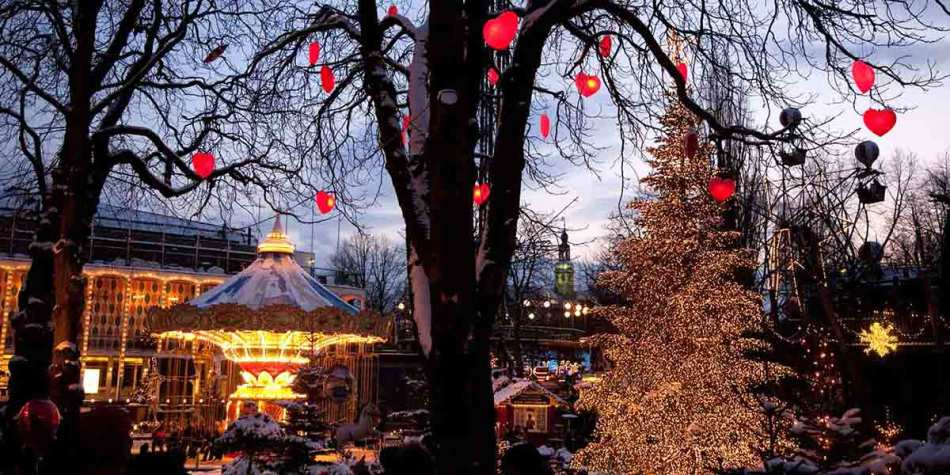 Tivoli theme park in Copenhagen during Christmas